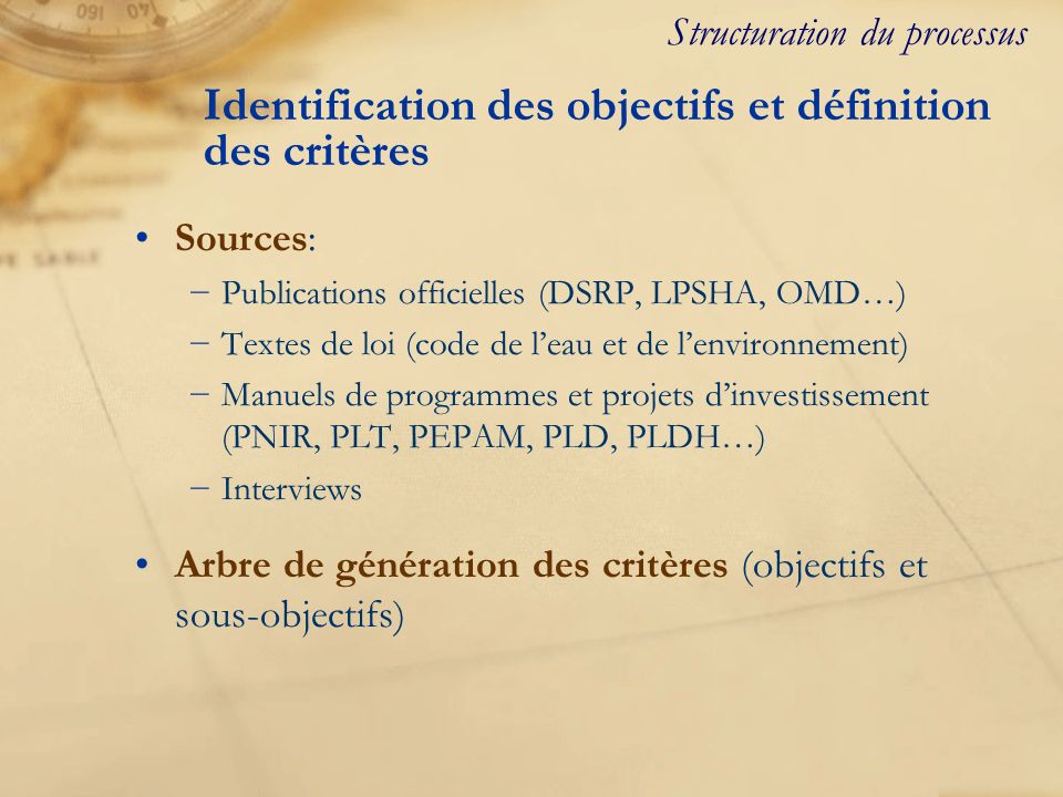 Identification des objectifs et définition des critères