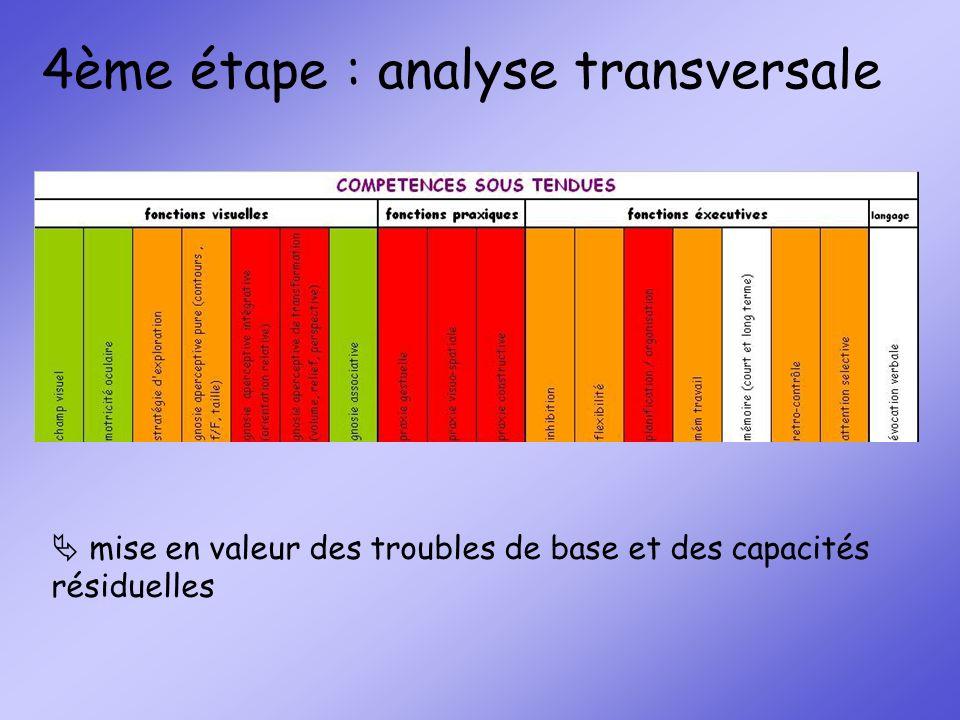 4ème étape : analyse transversale