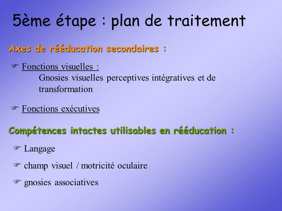 5ème étape : plan de traitement