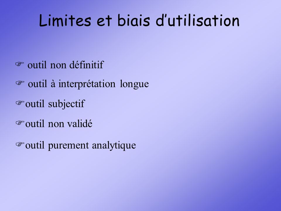 Limites et biais d'utilisation