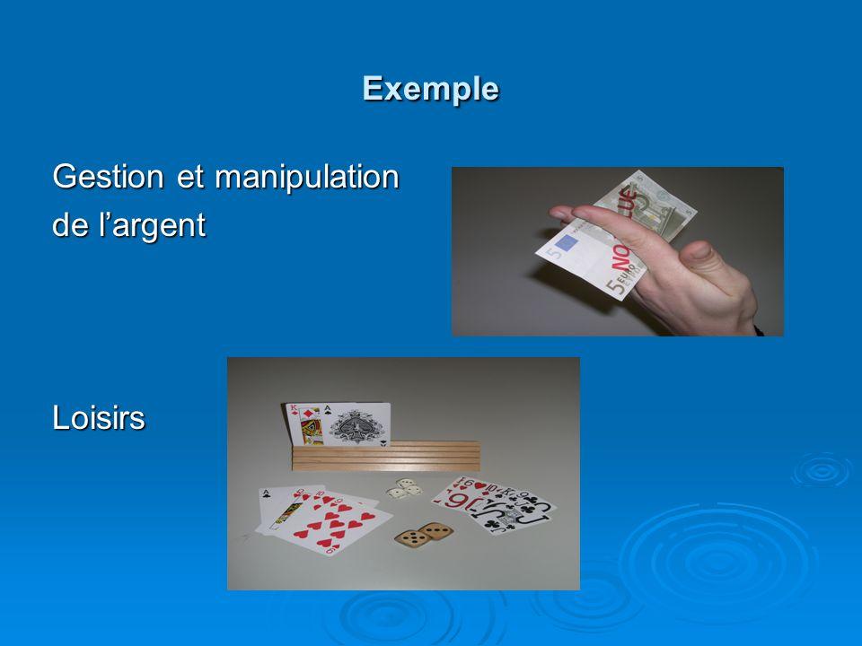 Exemple Gestion et manipulation de l'argent Loisirs