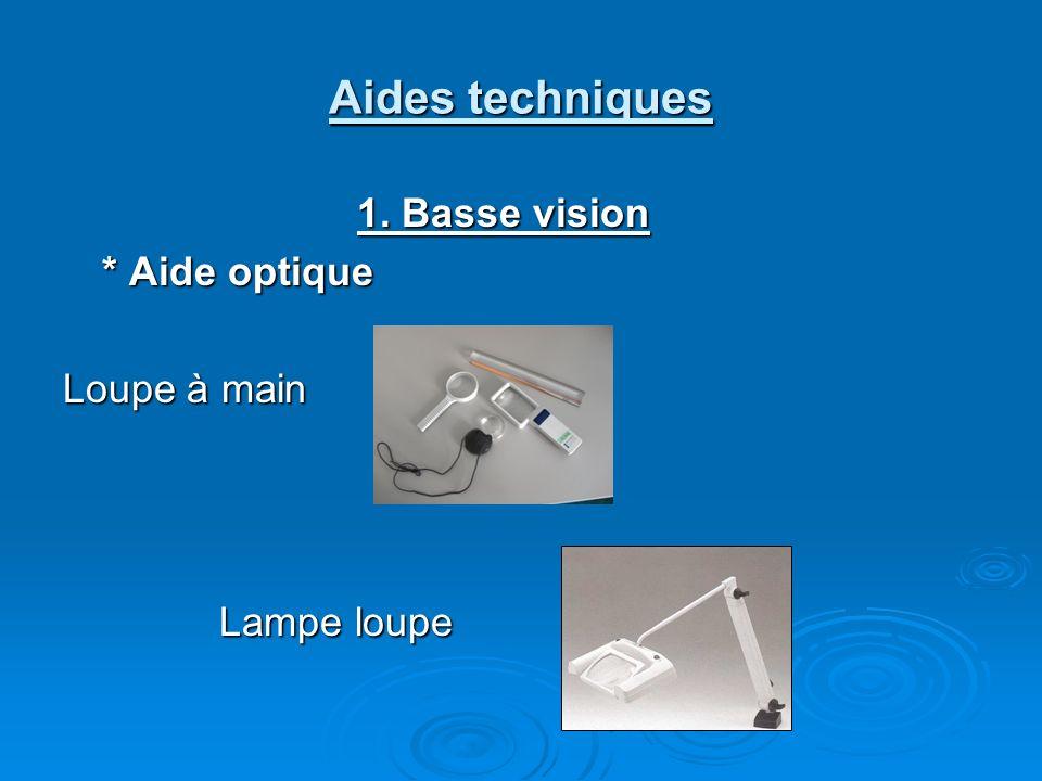 Aides techniques 1. Basse vision * Aide optique Loupe à main