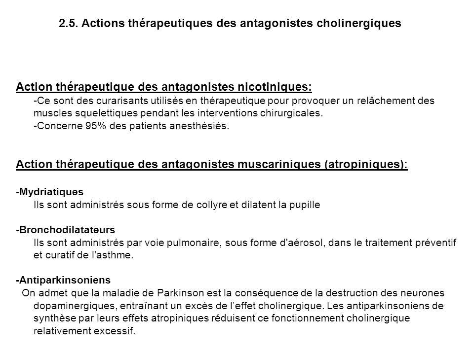 2.5. Actions thérapeutiques des antagonistes cholinergiques