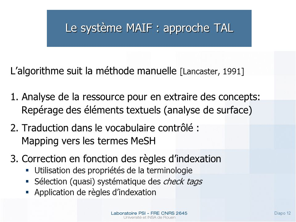 Le système MAIF : approche TAL