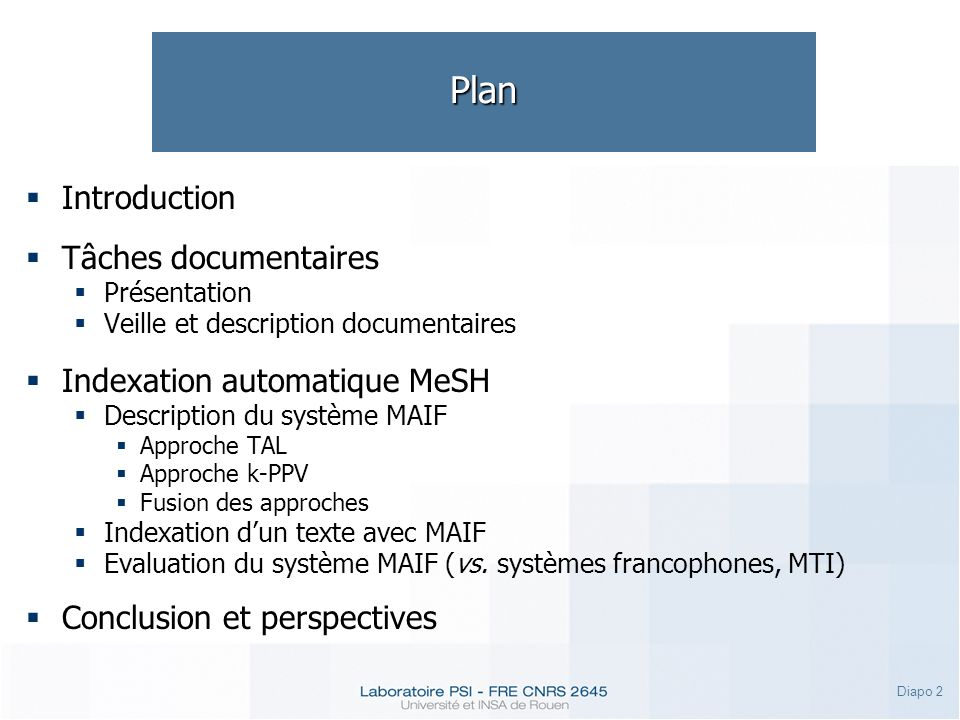 Plan Introduction Tâches documentaires Indexation automatique MeSH