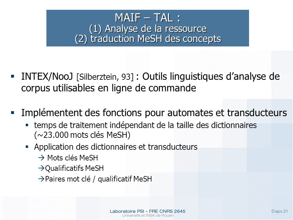 MAIF – TAL : (1) Analyse de la ressource (2) traduction MeSH des concepts