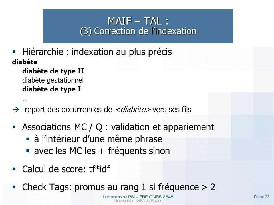 MAIF – TAL : (3) Correction de l'indexation