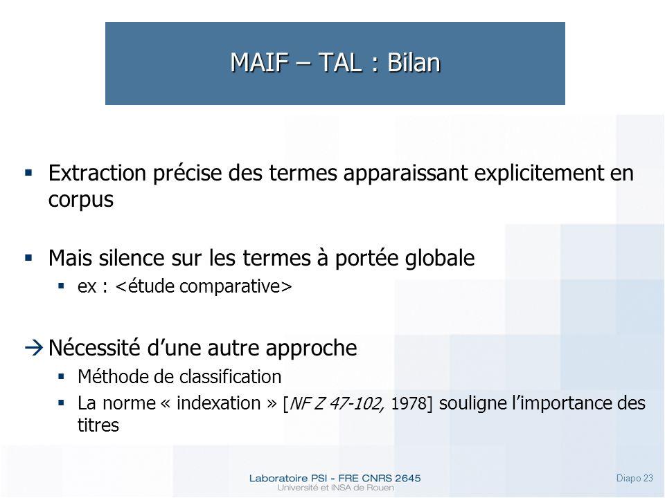 MAIF – TAL : Bilan Extraction précise des termes apparaissant explicitement en corpus. Mais silence sur les termes à portée globale.