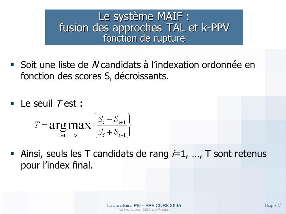 Le système MAIF : fusion des approches TAL et k-PPV fonction de rupture