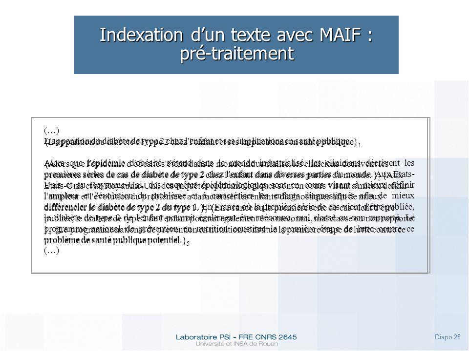 Indexation d'un texte avec MAIF : pré-traitement