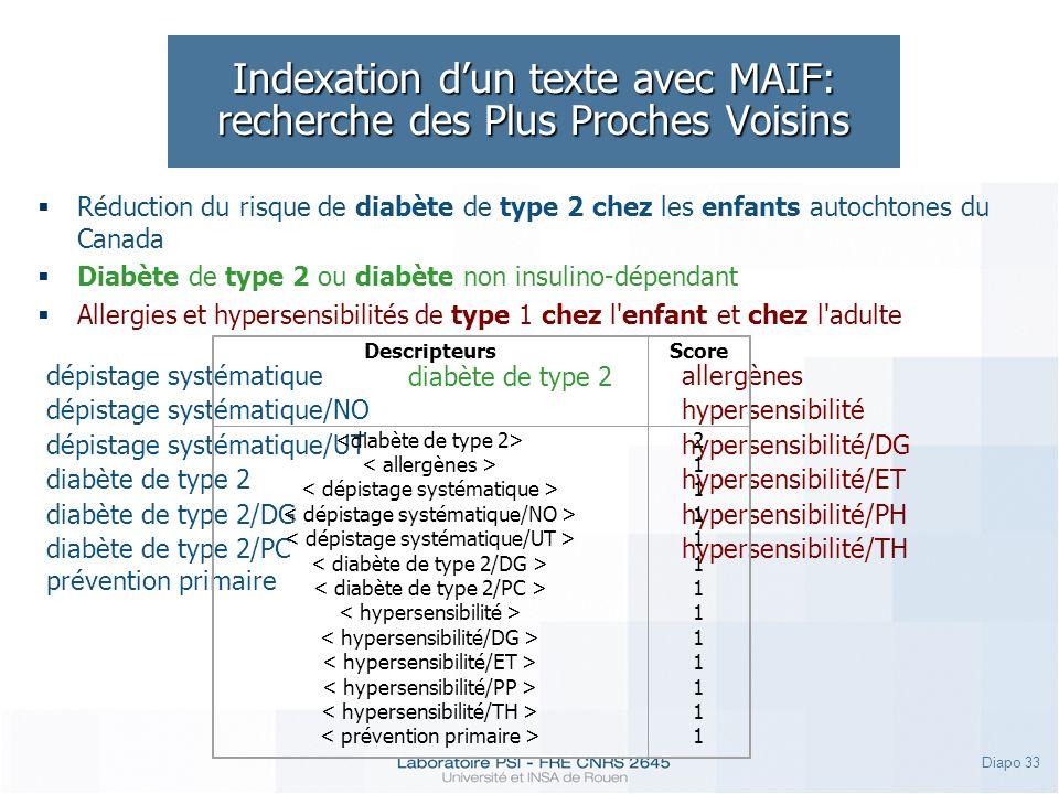Indexation d'un texte avec MAIF: recherche des Plus Proches Voisins