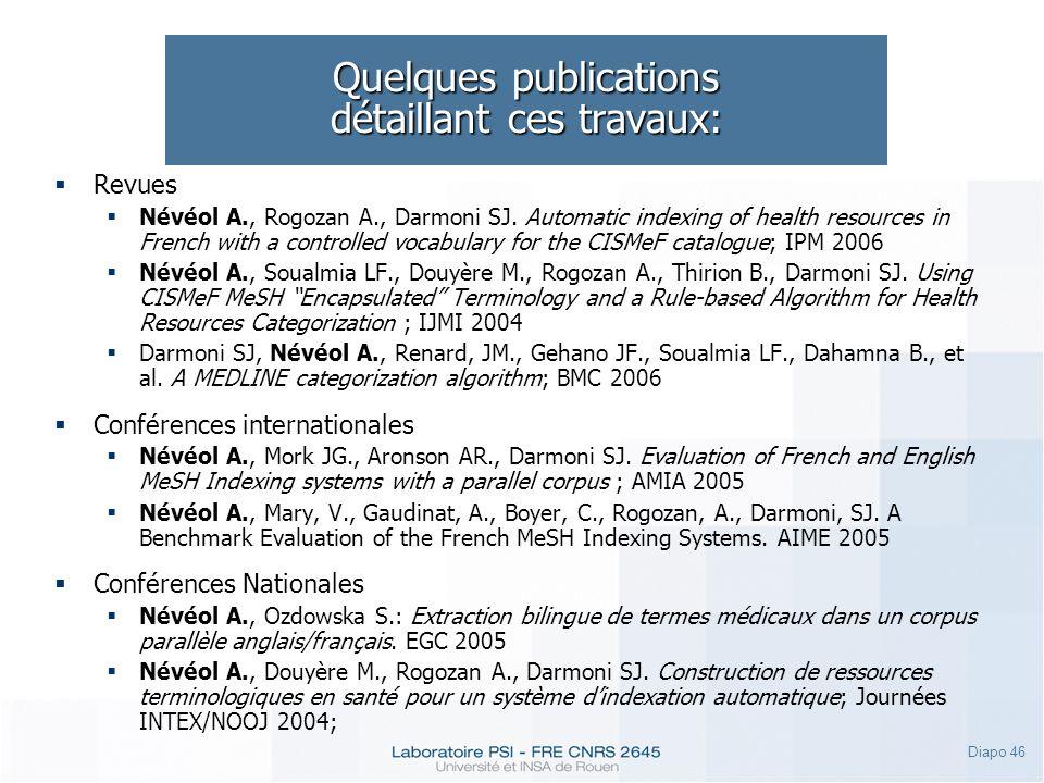 Quelques publications détaillant ces travaux: