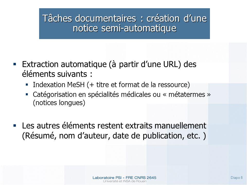 Tâches documentaires : création d'une notice semi-automatique