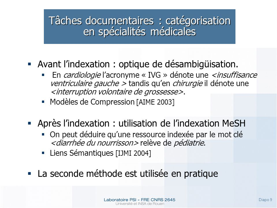 Tâches documentaires : catégorisation en spécialités médicales