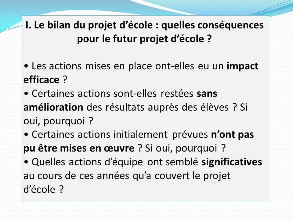 I. Le bilan du projet d'école : quelles conséquences pour le futur projet d'école