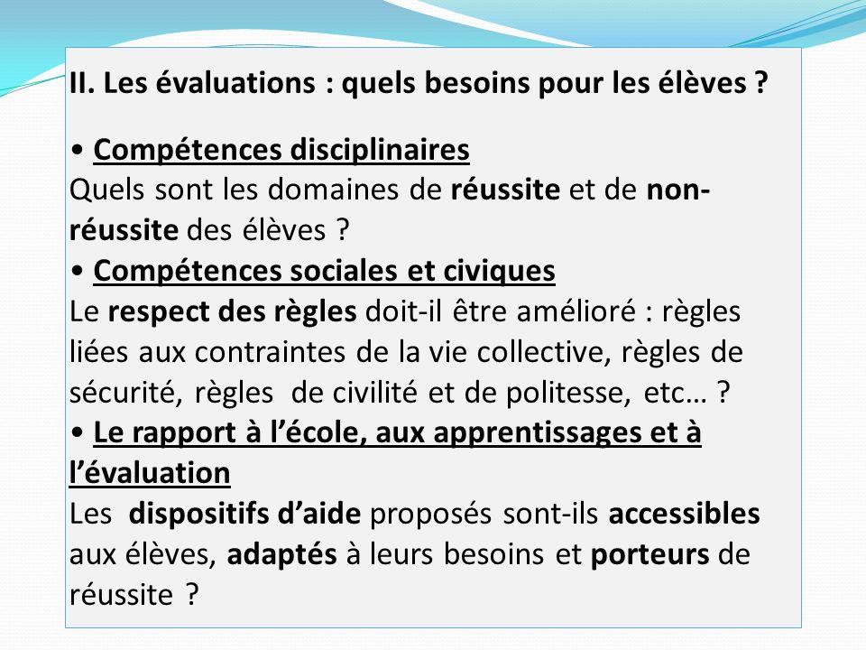 II. Les évaluations : quels besoins pour les élèves