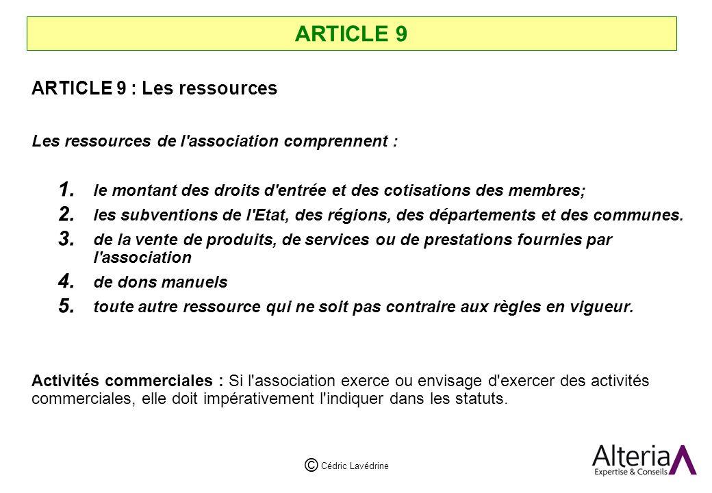 ARTICLE 9 ARTICLE 9 : Les ressources