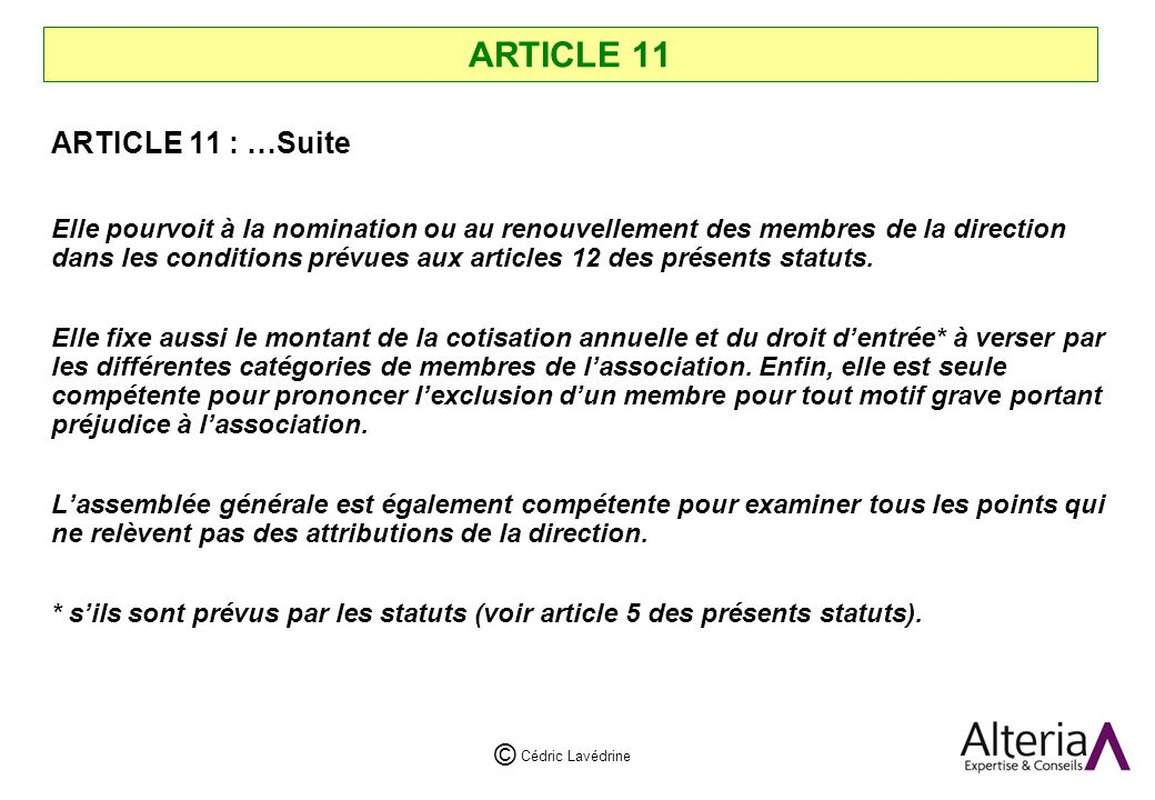 ARTICLE 11 ARTICLE 11 : …Suite