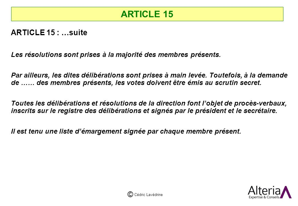 ARTICLE 15 ARTICLE 15 : …suite
