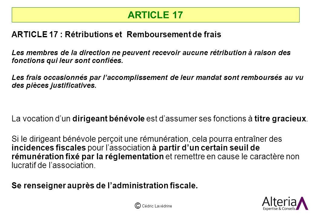 ARTICLE 17 ARTICLE 17 : Rétributions et Remboursement de frais