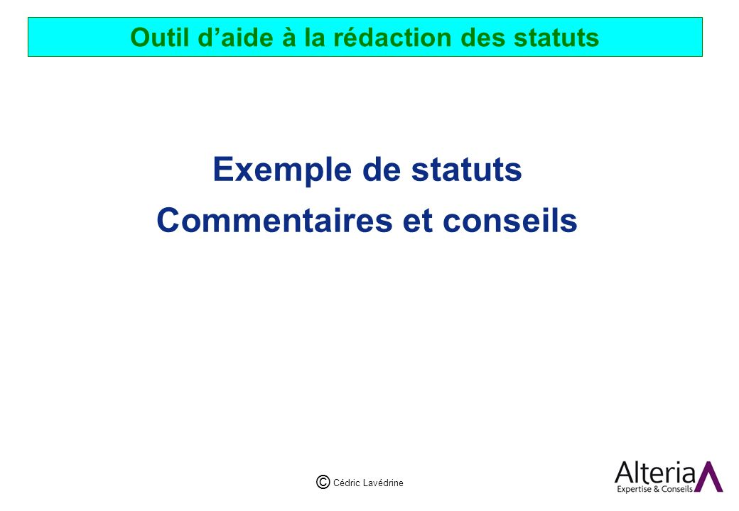 Outil d'aide à la rédaction des statuts