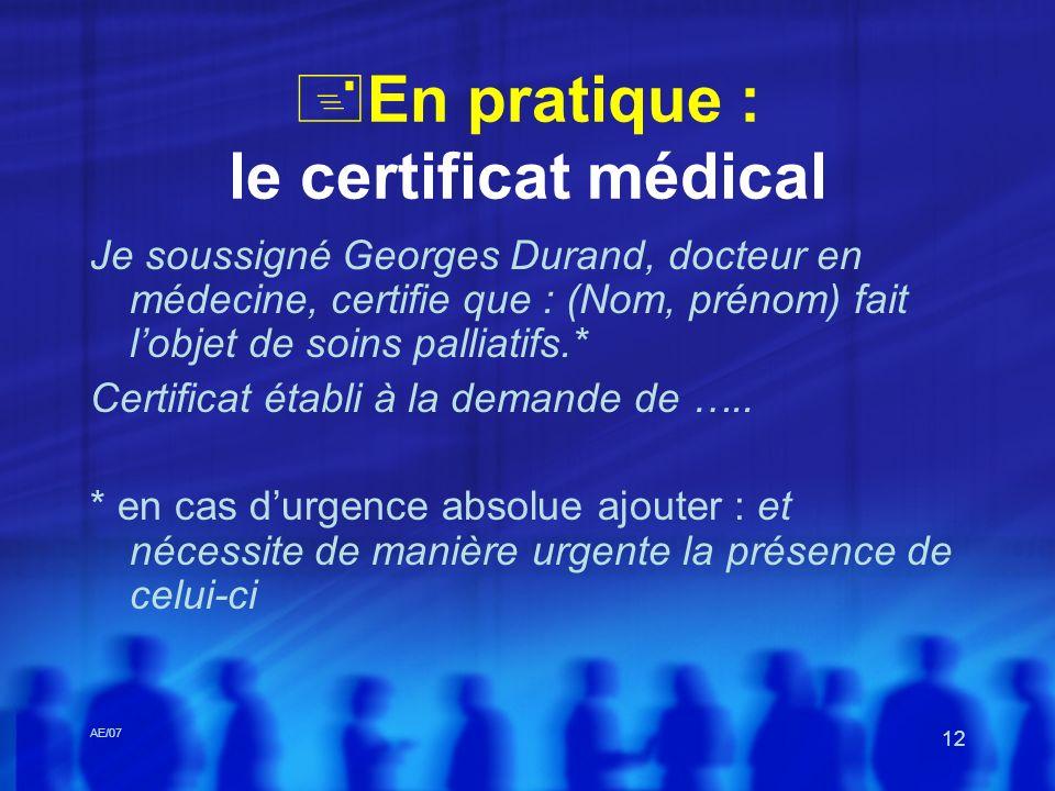 En pratique : le certificat médical