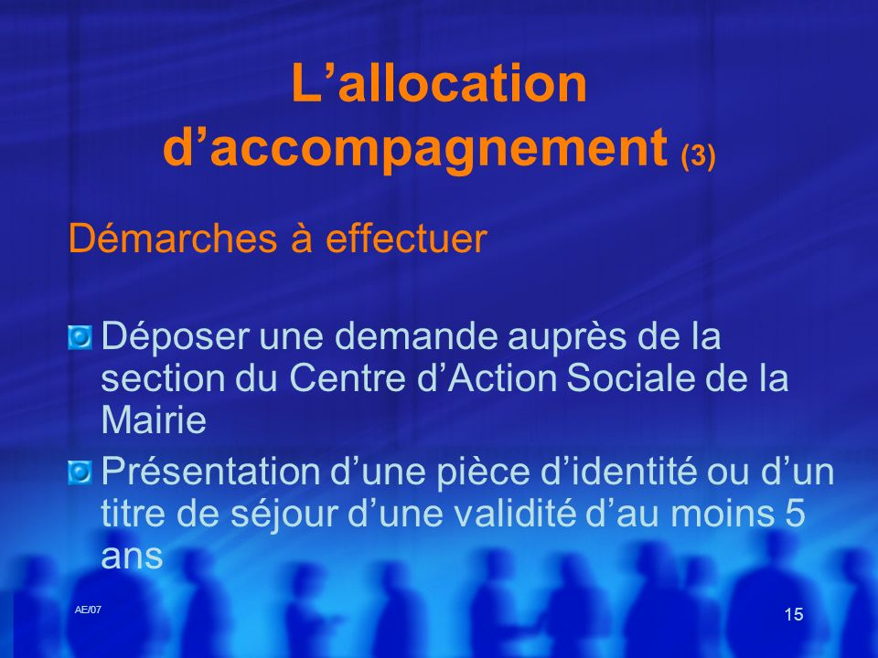 L'allocation d'accompagnement (3)