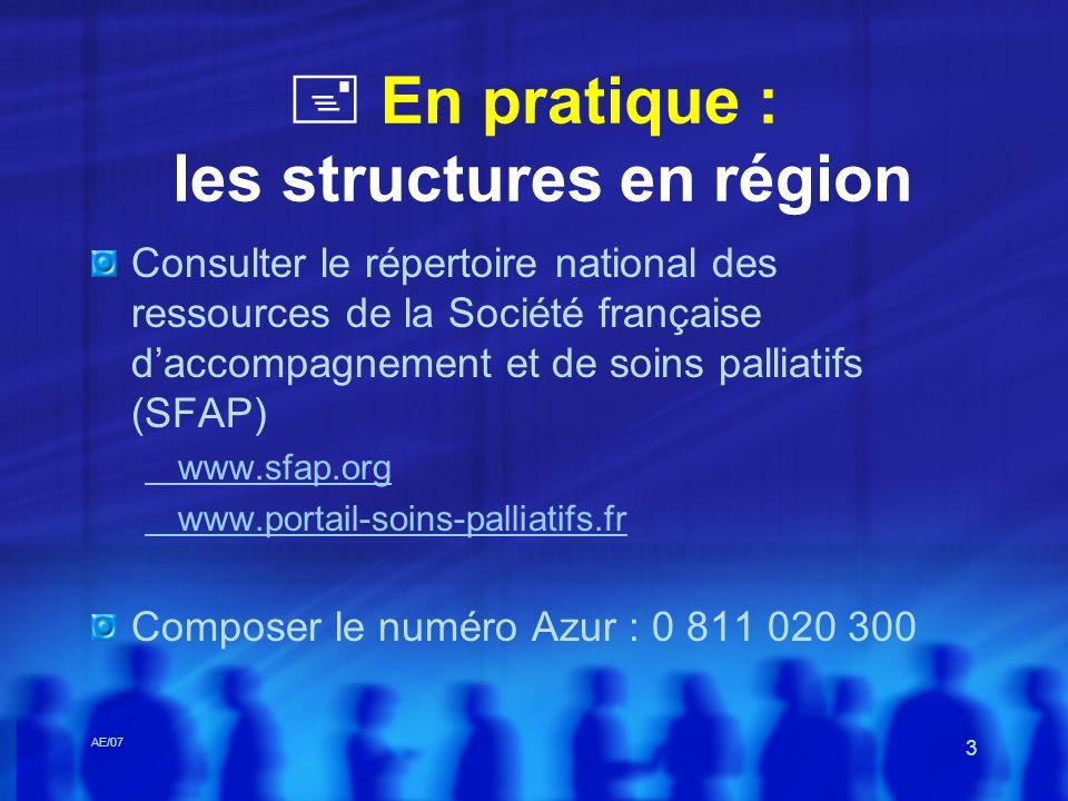  En pratique : les structures en région