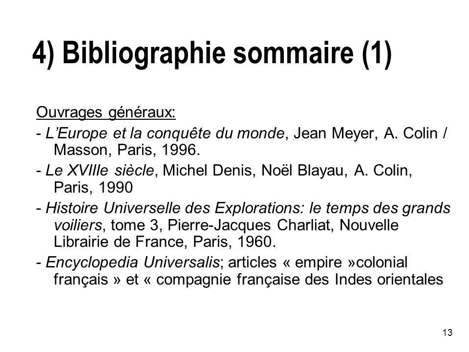 4) Bibliographie sommaire (1)
