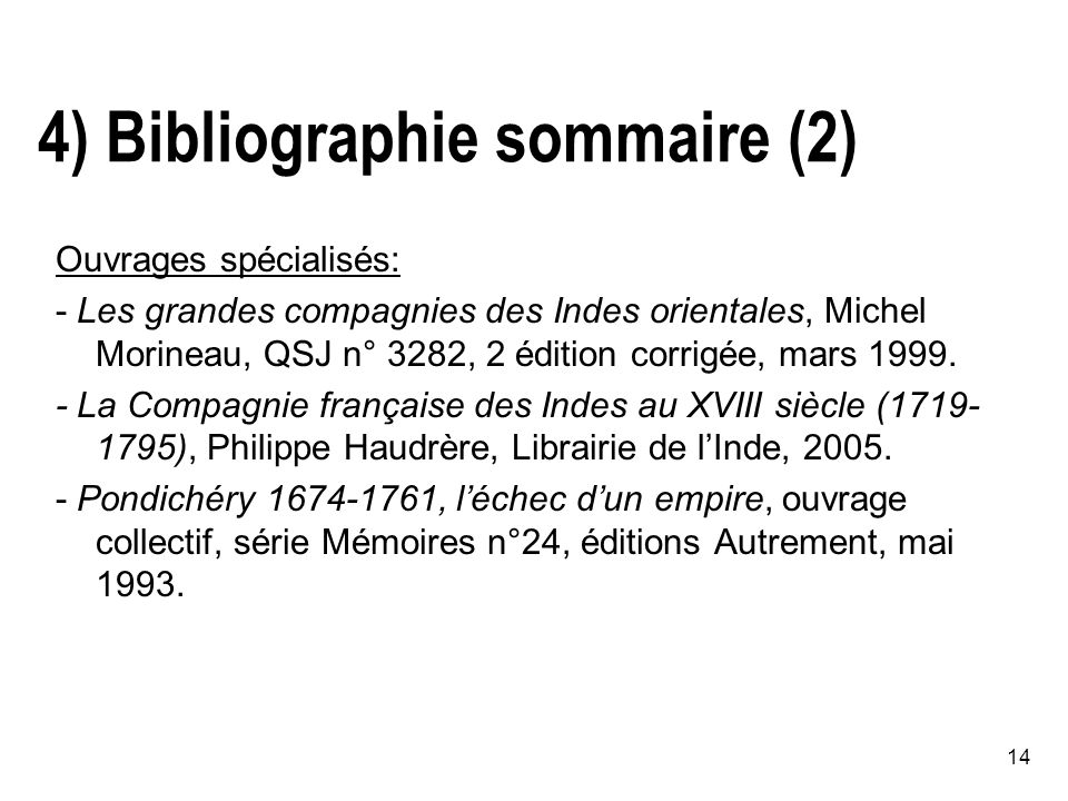 4) Bibliographie sommaire (2)