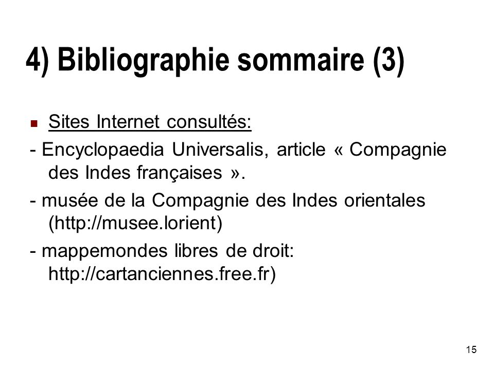4) Bibliographie sommaire (3)