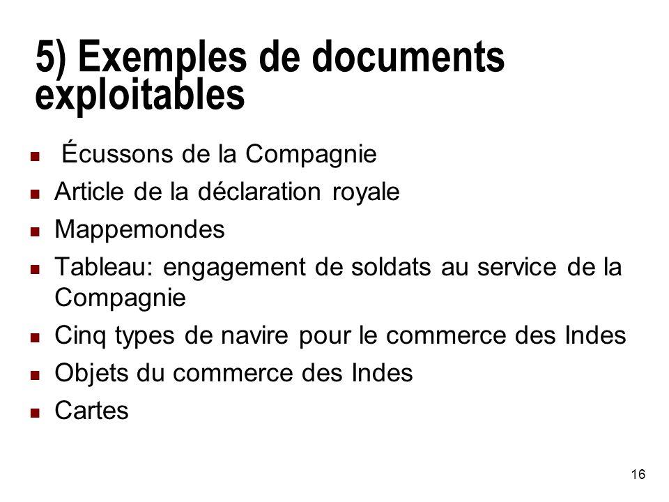 5) Exemples de documents exploitables