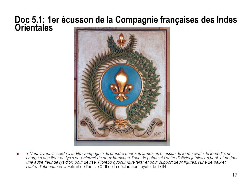 Doc 5.1: 1er écusson de la Compagnie françaises des Indes Orientales