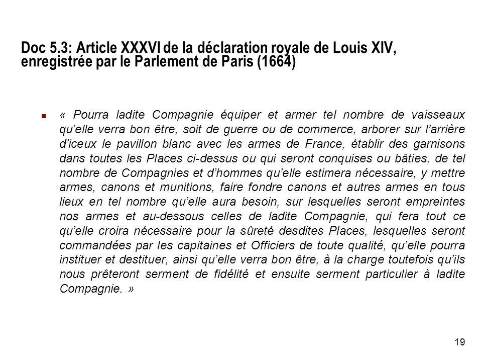 Doc 5.3: Article XXXVI de la déclaration royale de Louis XIV, enregistrée par le Parlement de Paris (1664)
