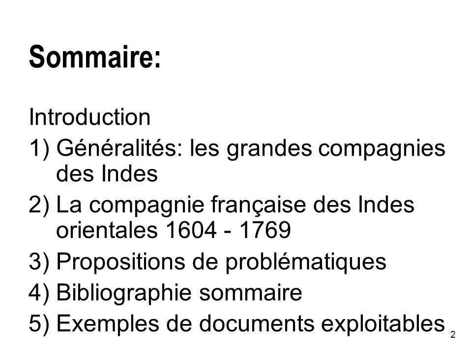 Sommaire: Introduction