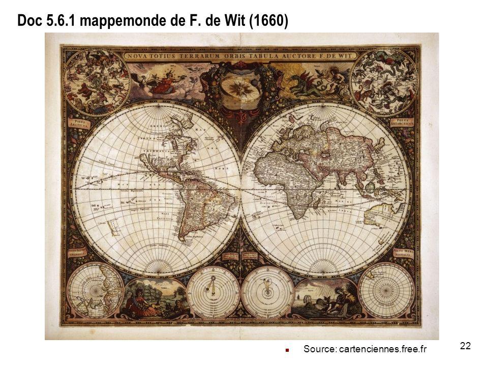 Doc 5.6.1 mappemonde de F. de Wit (1660)