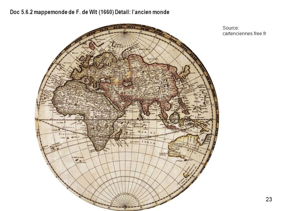Doc 5.6.2 mappemonde de F. de Wit (1660) Détail: l'ancien monde