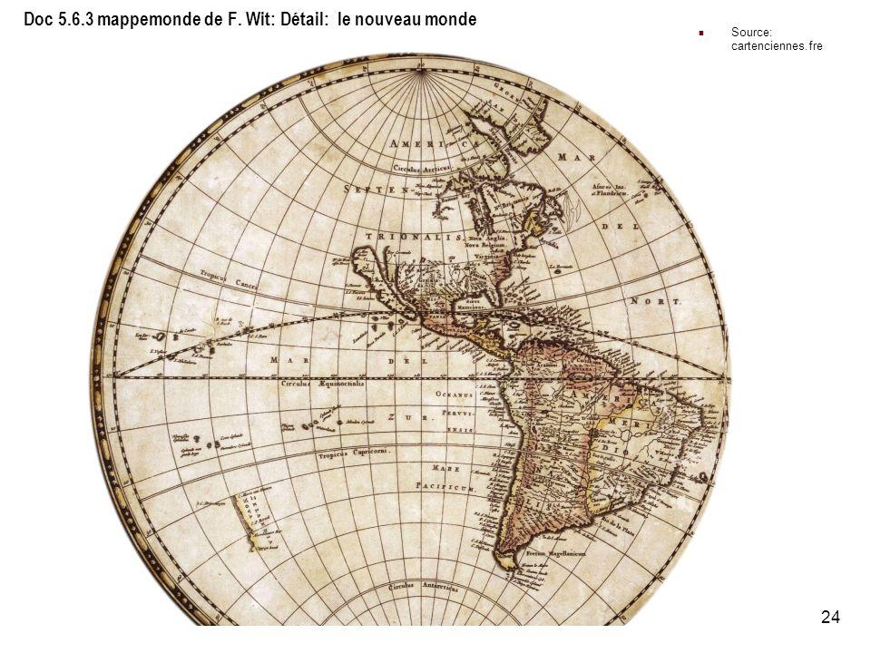 Doc 5.6.3 mappemonde de F. Wit: Détail: le nouveau monde