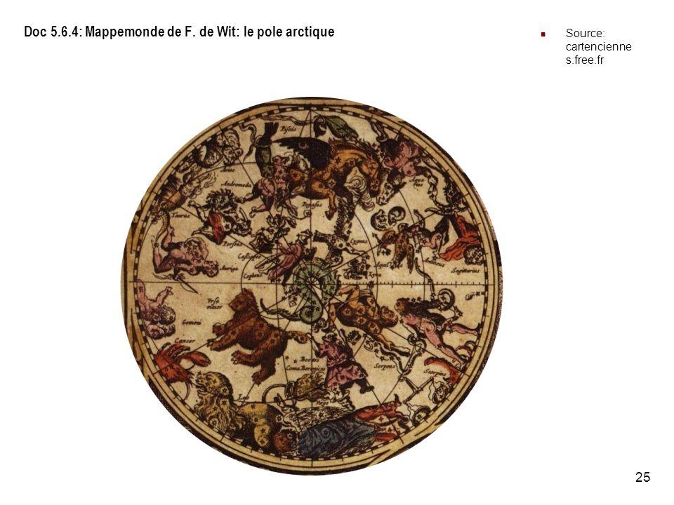Doc 5.6.4: Mappemonde de F. de Wit: le pole arctique