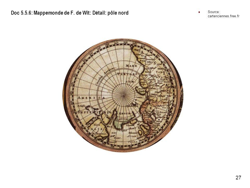 Doc 5.5.6: Mappemonde de F. de Wit: Détail: pôle nord