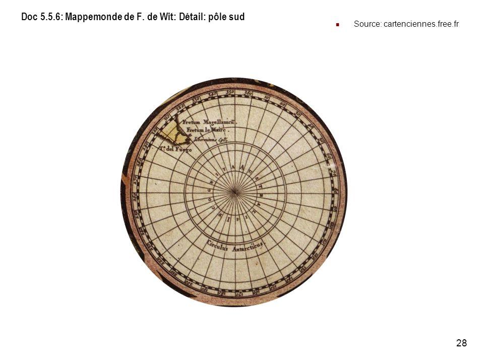 Doc 5.5.6: Mappemonde de F. de Wit: Détail: pôle sud