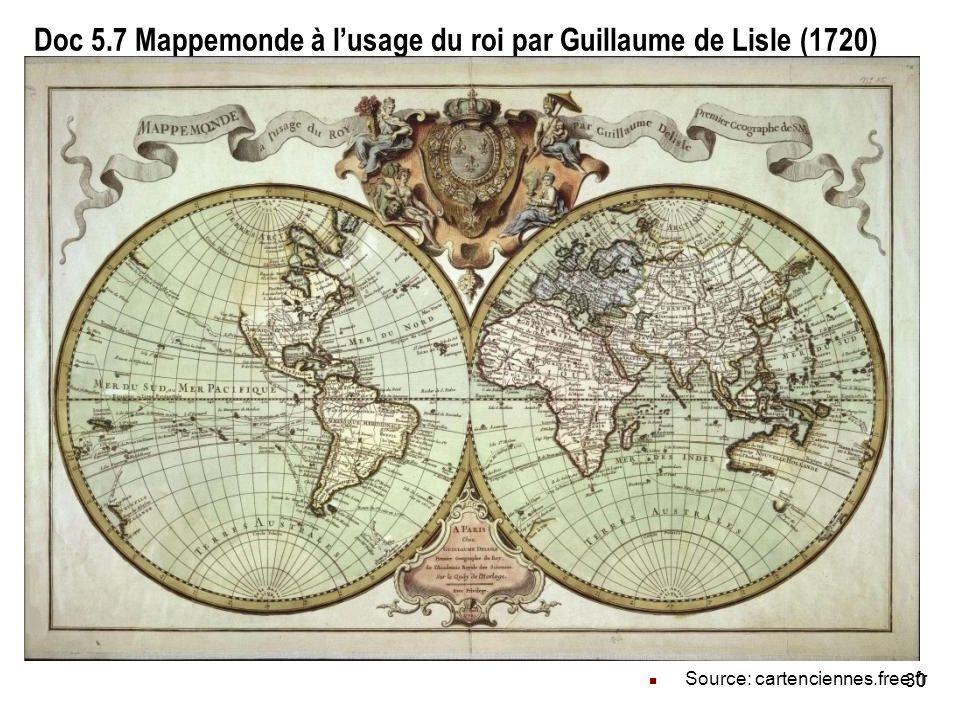 Doc 5.7 Mappemonde à l'usage du roi par Guillaume de Lisle (1720)