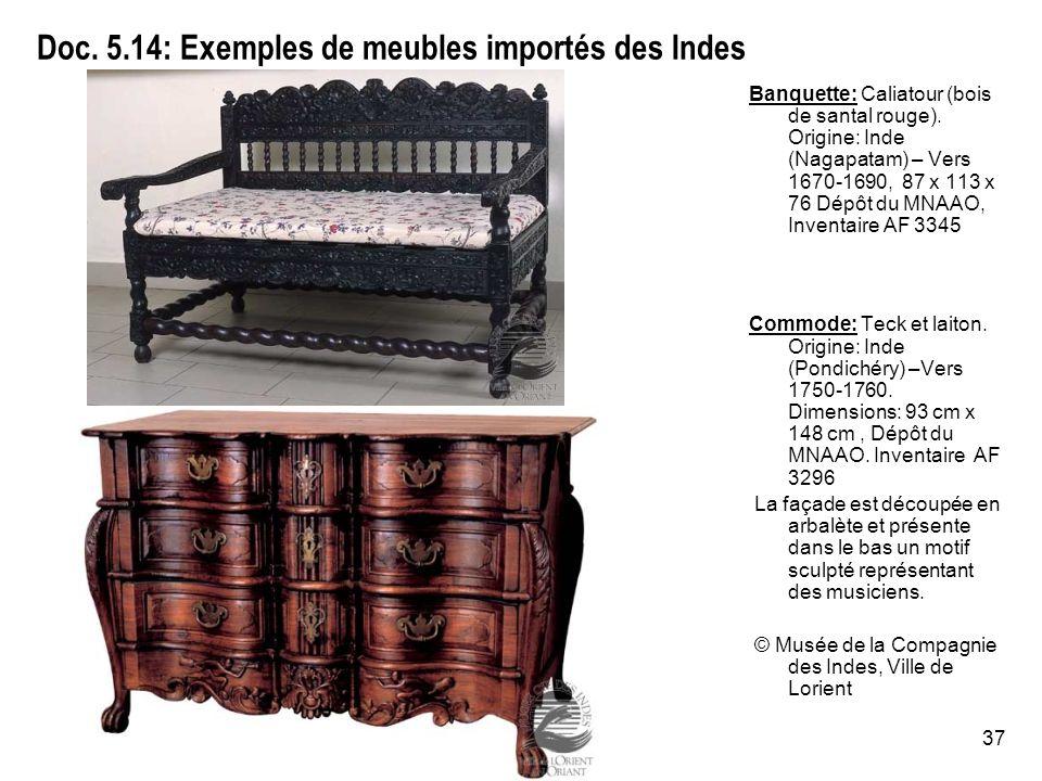Doc. 5.14: Exemples de meubles importés des Indes