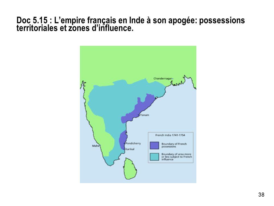 Doc 5.15 : L'empire français en Inde à son apogée: possessions territoriales et zones d'influence.
