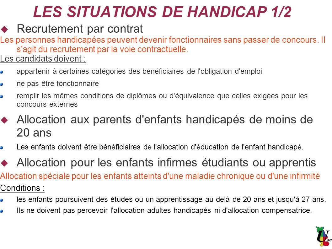 LES SITUATIONS DE HANDICAP 1/2
