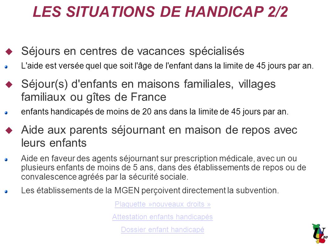 LES SITUATIONS DE HANDICAP 2/2