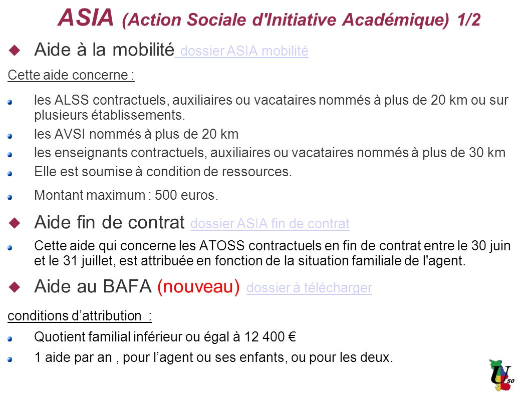 ASIA (Action Sociale d Initiative Académique) 1/2