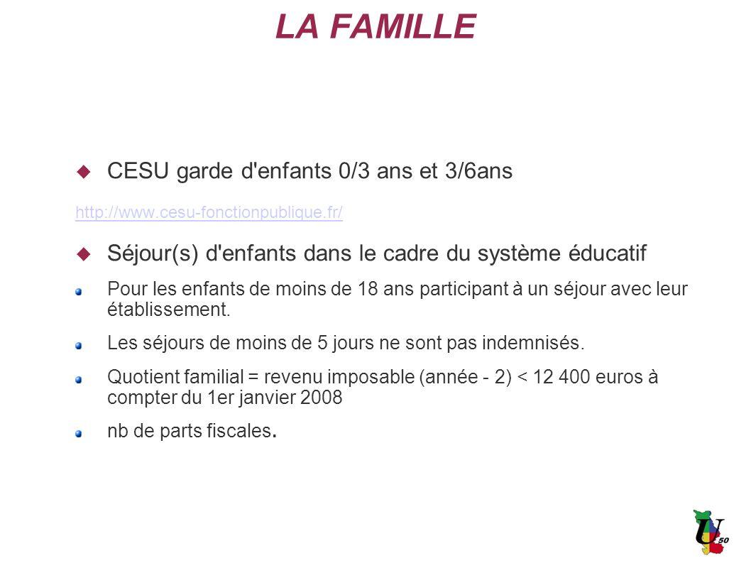 LA FAMILLE CESU garde d enfants 0/3 ans et 3/6ans