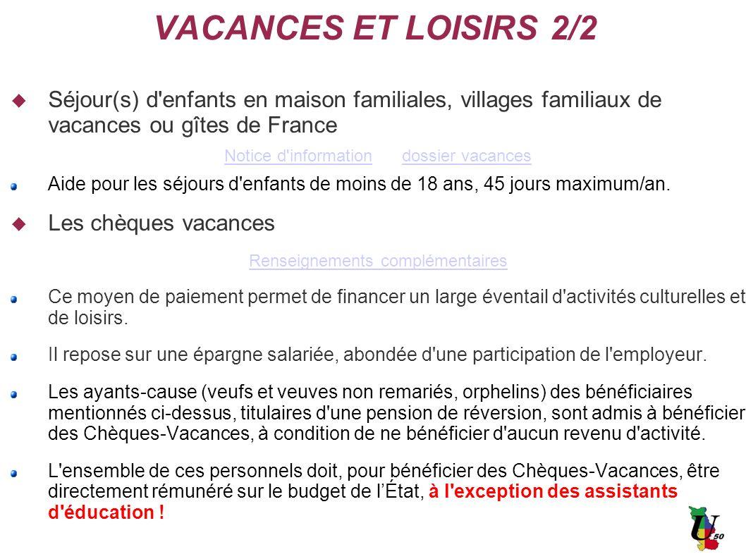 VACANCES ET LOISIRS 2/2 Nouveau !