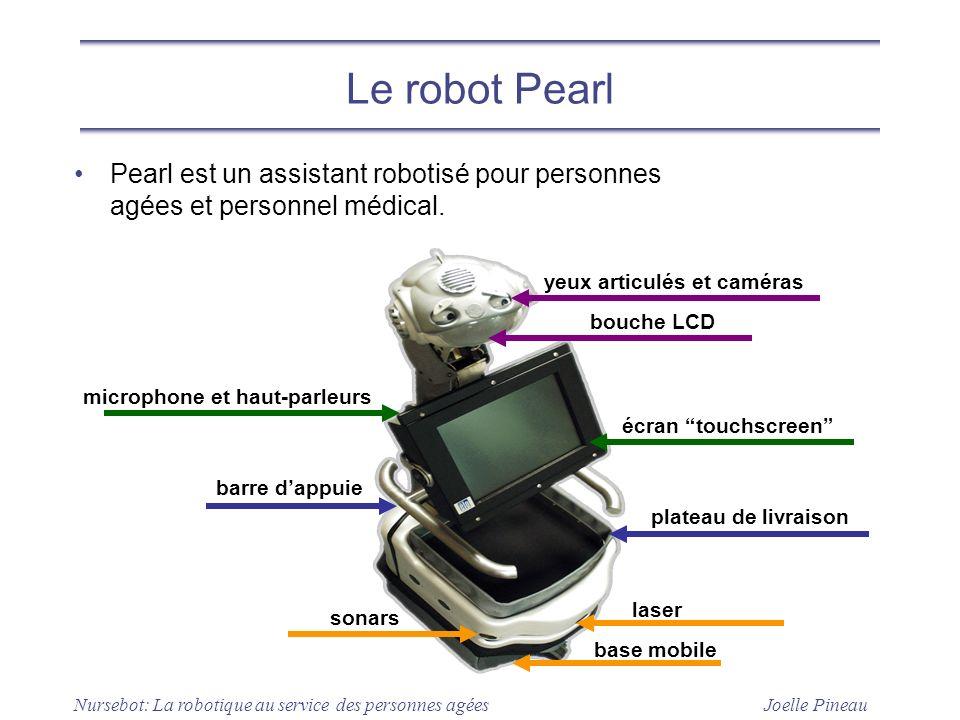 Le robot Pearl Pearl est un assistant robotisé pour personnes agées et personnel médical. yeux articulés et caméras.